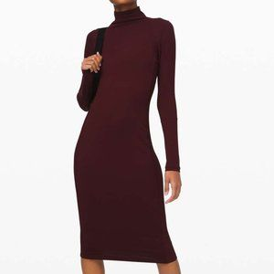 Lululemon Its Rulu Mock Neck Dress Garnet 10